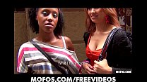 Sexy Asian babe & her HOT Ebony roommate are paid for a threesome