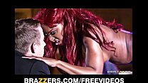 Perky ebony stripper gets fucked hard in the ass on stage video