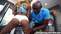 Hot Black Teen Sucks Her Trainer