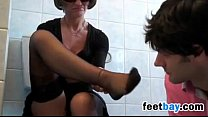 He Loves Smelling Her Feet In The Bathoom