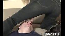 Elegant bimbo in oral sex action