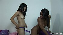 Black bitch gets fucked by her lover strap on s...