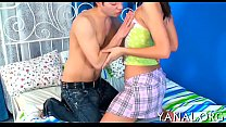 Active hottie enjoys anal job video
