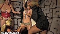 Busty Maggie Green Gives Orgasm in Lesbian Foursome!