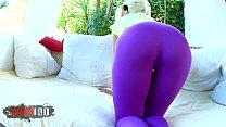 Blonde slut in tight spandex leggings teasing a...