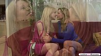 Two blonde milfs lick each others pussy