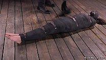 Mummified Brunette Gets Hard Flogged