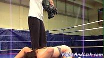 Wrestling lesbos enjoy sixtynine action