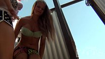 china adult film & Hidden camera in a beach cabin. Young blonde dresses. thumbnail