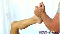 Massage teens feet cummed