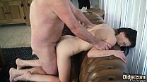 Teen with nice perky tits and shaved pussy fucked by grandpa in old young صورة