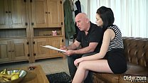 Teen with nice perky tits and shaved pussy fucked by grandpa in old young preview image