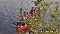 Sunny Cock Sucking Threesome Camping