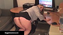 Office Slut Maggie Green Bangs Her Pussy with a...