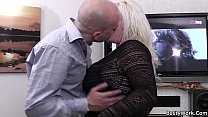 7710 Chubby blonde is doggy-fucked on the floor preview