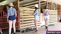 Hot farm babes awesome threesome outdoor fuck