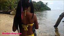 HD Thai teen Beach day outdoor giving deep throat throatpie preview image