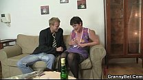 Old mom spreads legs for young cock Image
