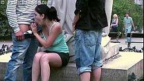 Young cute teen girl public street sex gang ban...