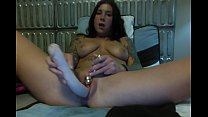 Free download video bokep Felicity Feline masturbates and sucks a huge dildo on webcam