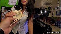 Tight bar crew Alexa Tomas fucked with customer for money