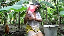 Indian hot cute servant girl showing her boobs and seducing neighbour at out door - Wowmoyback - XVI