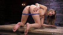Sexy Brunette In Rope Fucking Machine