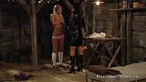 Tied Up Blonde Lesbian Schoolgirl In Madame's Dungeon