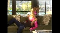 Stunning blonde bombshell in pink latex outfit Pandora Dreams made a shift without sex for a month that's why she can't wait any minute to start fucking with her friend