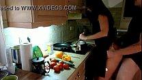 Cogiendo en la cocina despues de trabajar Image