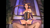 Brunette fucks in a shiny latex corset and fish... Thumbnail