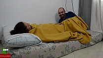 She is sleeping and he wakes her up by rubbing her pussy  IV video