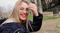 Blonde reading in the public park