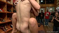 Huge tits blonde anal banged in public