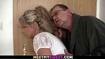 Guy finds old couple fuck his blonde teen gf