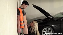 Horny blonde GILF gets fucked in a car parking garage Preview