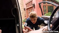 Latina officer caught on a guy jerking off in his car! - Mercedes Carrera image
