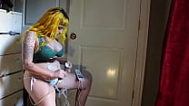 Busty Milf inflating her belly with hand air pump and masturbating!