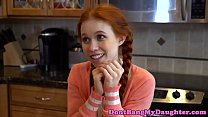 Pigtailed redhead teen banged roughly
