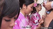 Free download video bokep Three geishas sucking on one lonely cock