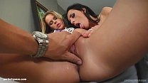 Celia Jones and Cindy X in threesome gonzo fuck scene with cum swapping end on S