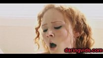 Redhead babe fucked hard on bed