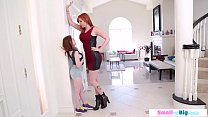 Teen babe fucked by a tall busty milf