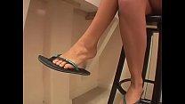 Kinky dude licks beautiful brunette's feet and ass