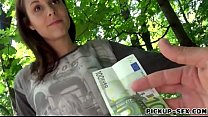 Amateur Czech babe flashes her tits and fucked for cash
