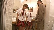 Lucky teacher finds two stunning schoolgirls Mina and Morgan Moon then anally fucks them porn thumbnail