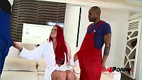 Two big black monster cocks up Paige Delight's pussy & ass in DP XXX action GP825 preview image