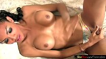 Stunning Asian T-girl plays with her big boobs and girl rod