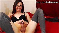 Tranny with Glasses Cums All Over her Own Face
