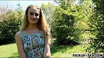 Czech girl fucked in the woods for cash